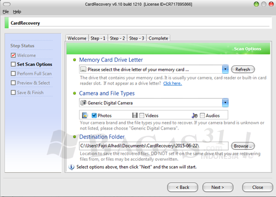 memory card recovery free software registration key