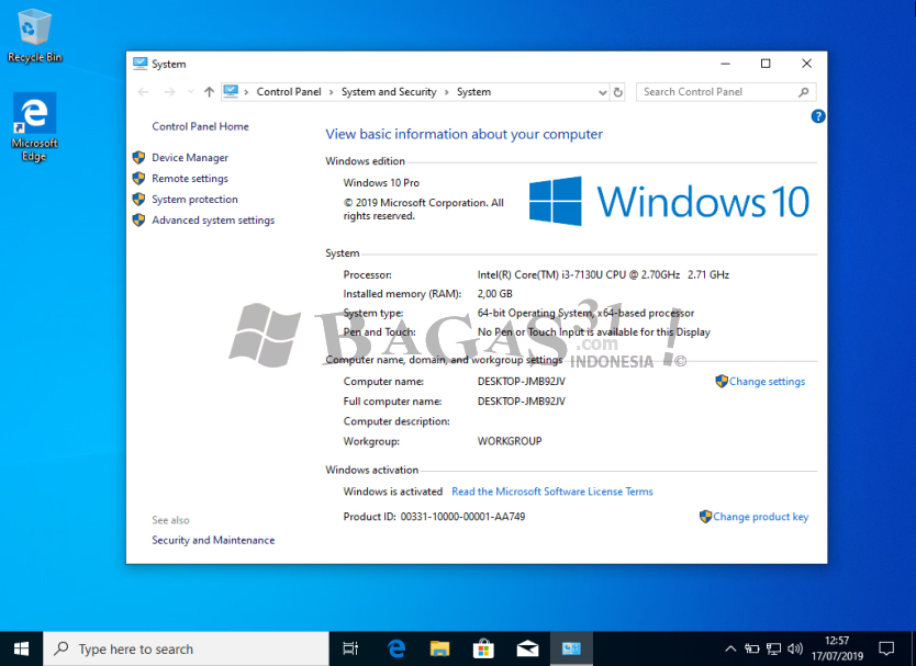 Windows 10 x64 Pro Update Juli 2019