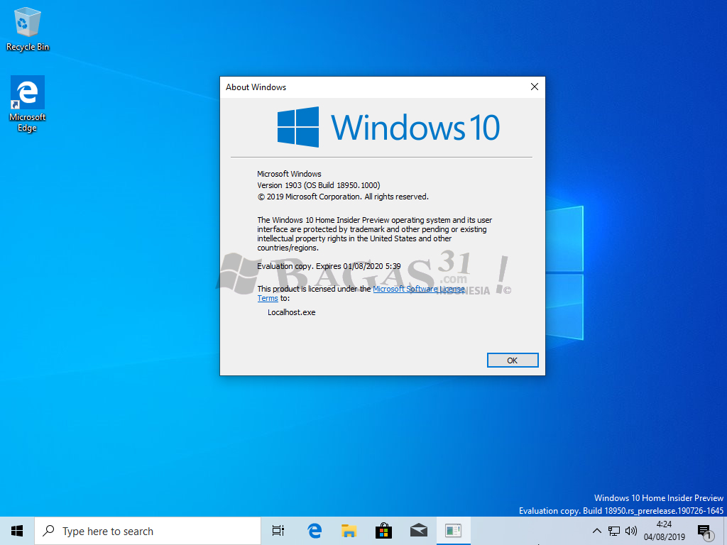 Windows 10 Insider Preview 20H1 Agustus 2019 11