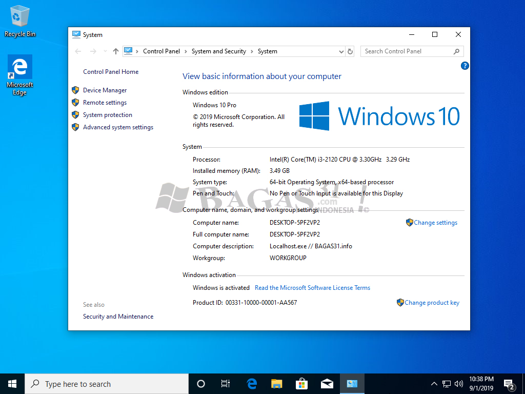 Windows 10 Pro Update September 2019