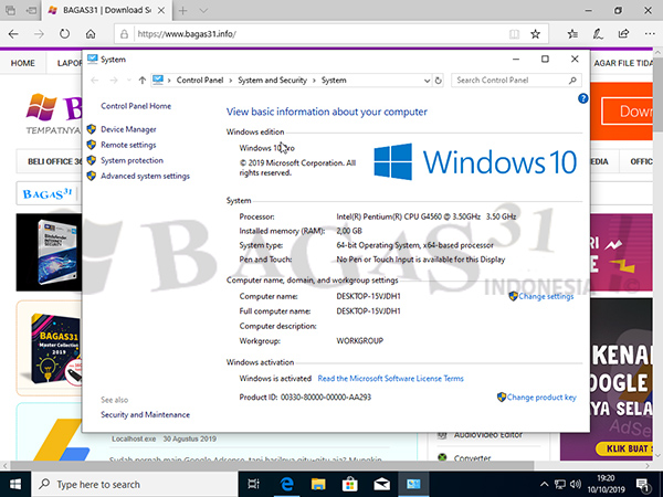Windows 10 Pro 1903 Build 18362.418 Oktober 2019