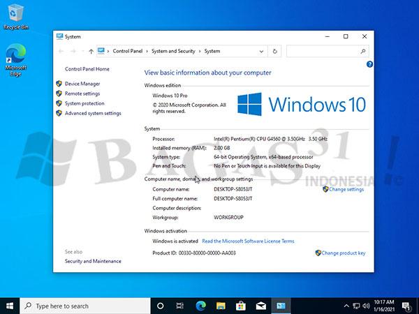 Windows 10 Pro 20H2 Build 19042.867 Maret 2021